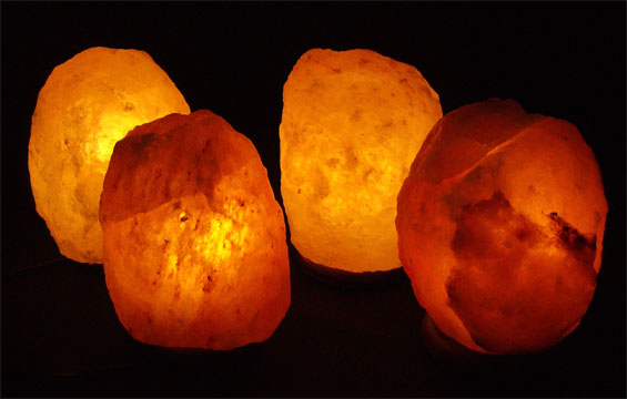 Four 6-8 lb. Himalayan Salt Lamps Package