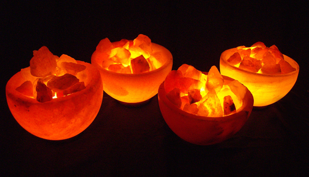 Four Large Fire Bowl Salt Lamps Pack