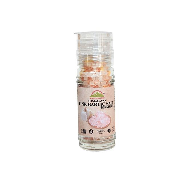 Garlic Himalayan Pink Salt in Refillable Grinder Jar (3.53oz.)