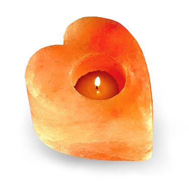 Hand Carved Himalayan Salt Heart Candle Holder