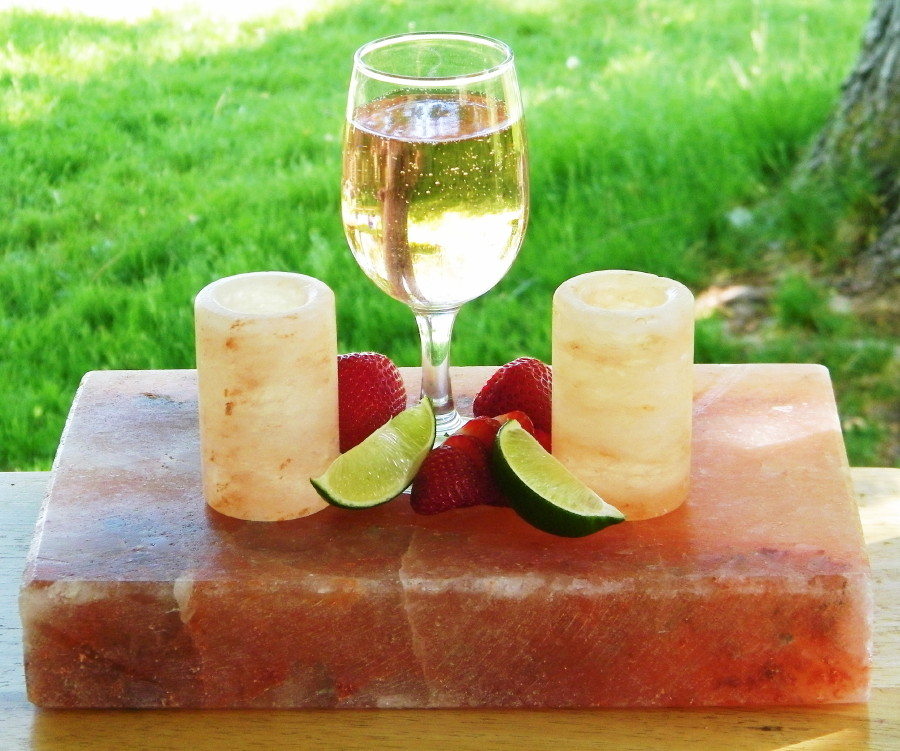 Himalayan Salt Stone Block or Cutting Board w/ 4 Shot Glasses