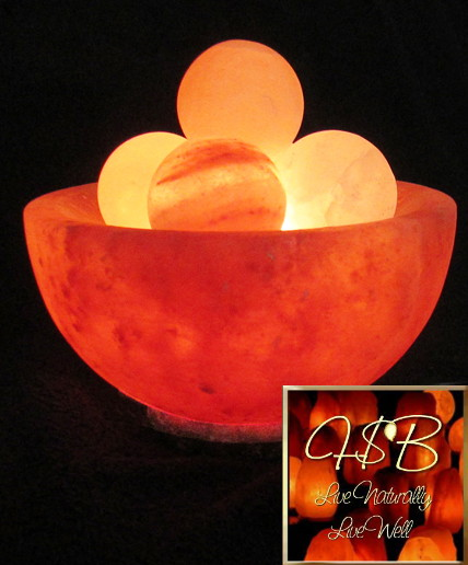 Himalayan Salt Crystal Fire Bowl Lamp w/ Energy Spheres - Small