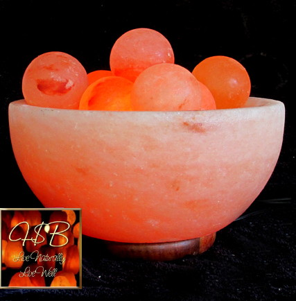 Himalayan Salt Crystal Fire Bowl Lamp w/ 6 Energy Spheres - Large