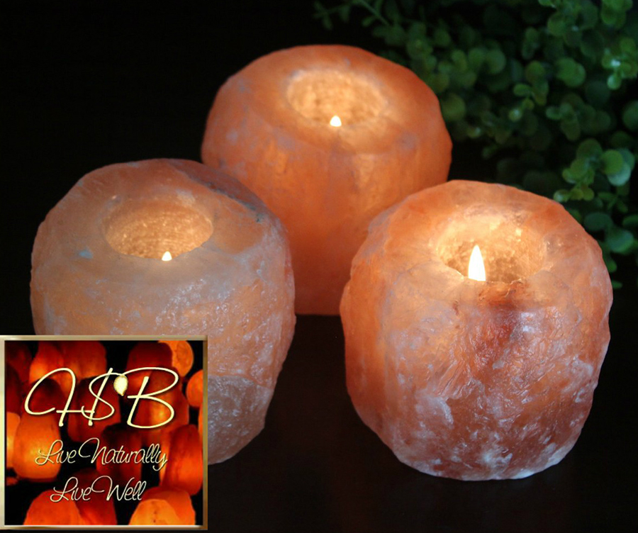 Natural Salt Crystal Candle Holders Large Set Of 3