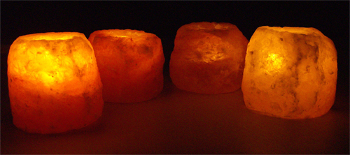 Natural Salt Crystal Candle Holders - Large - Eight Pack