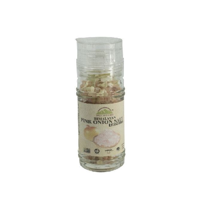 Onion Himalayan Pink Salt in Refillable Glass Grinder Jar (3.53oz.)