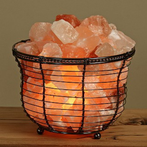 Round Tall Metal Basket Himalayan Salt Lamp