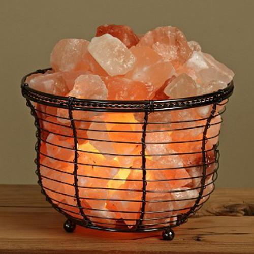Round Tall Metal Basket Himalayan Salt Lamp - Himalayan Salt Boutique