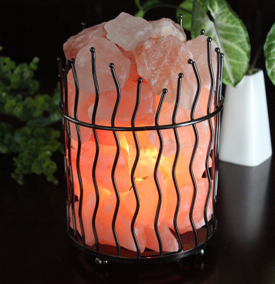 Wavy Pillar Metal Basket Himalayan Salt Lamp - Small