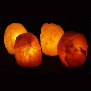 four 9lb natural himalayan salt lamps
